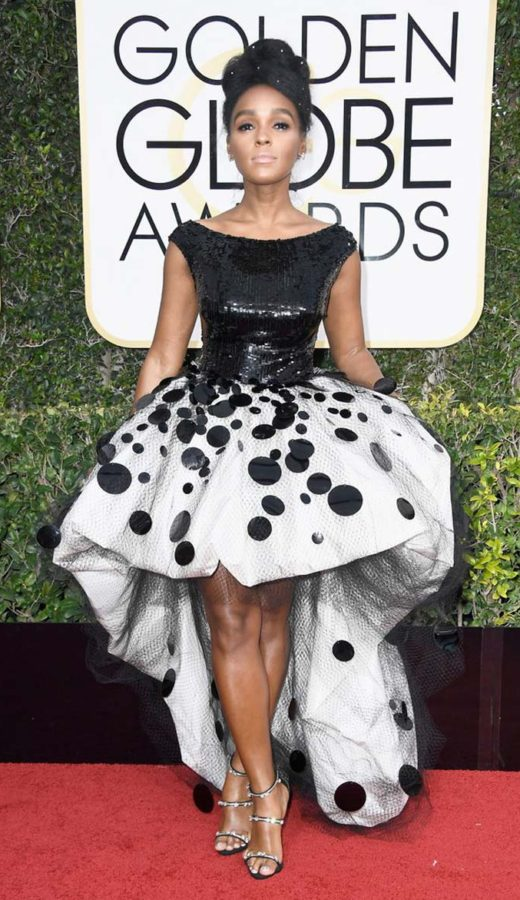 Janelle Monáe Wearing an Armani at the 2017 Golden Globes