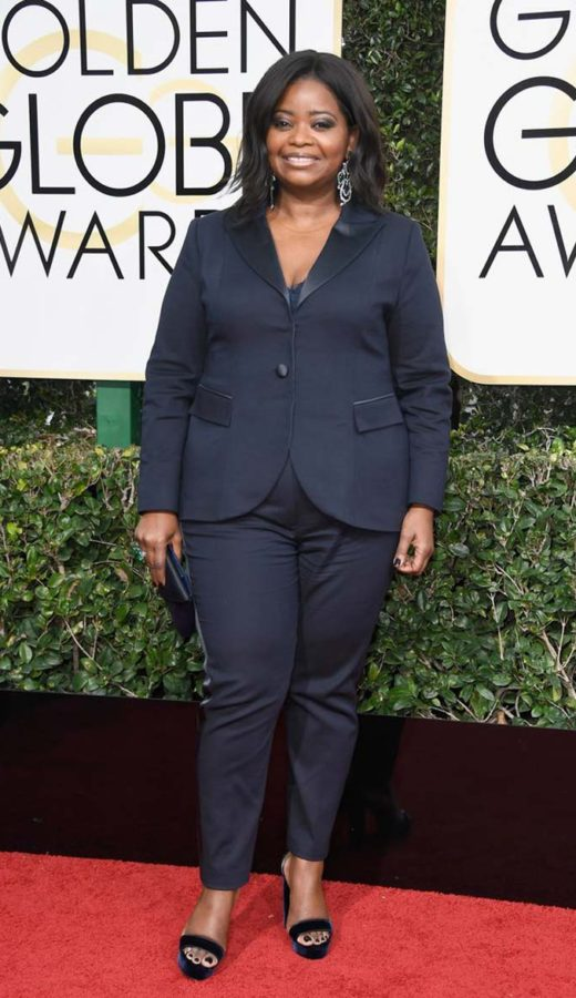 Octavia Spencer Wearing a Laura Basci suit at the 2017 Golden Globes