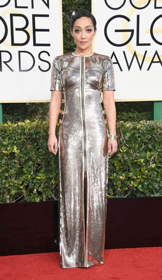 Ruth Negga in Louis Vuitton at the 2017 Golden Globes